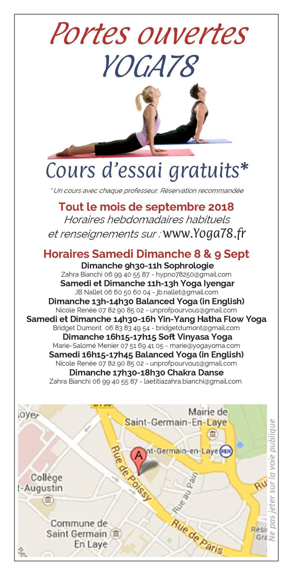 Yoga78 - Flyer Journées portes ouvertes septembre 2018